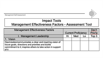 Management Effectiveness Factors and Assessment Tool