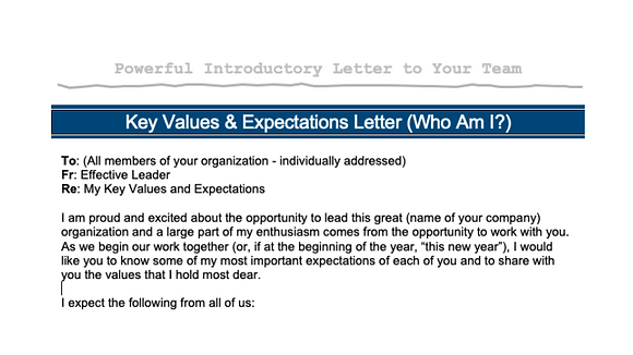 Key Values & Expectations Letter
