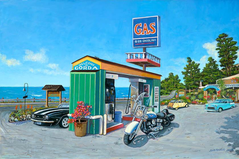 Gorda Gas Station, Big Bur   John Ramos Art new