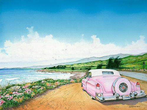 Cadillac on Moonstone Beach