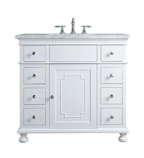 """Abigail Embellished 36"""" White Single Sink Vanity"""
