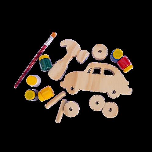 Kit meios de transporte Fusca para montar e colorir