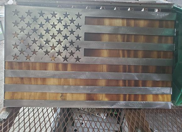 Custom made american flag on wood background