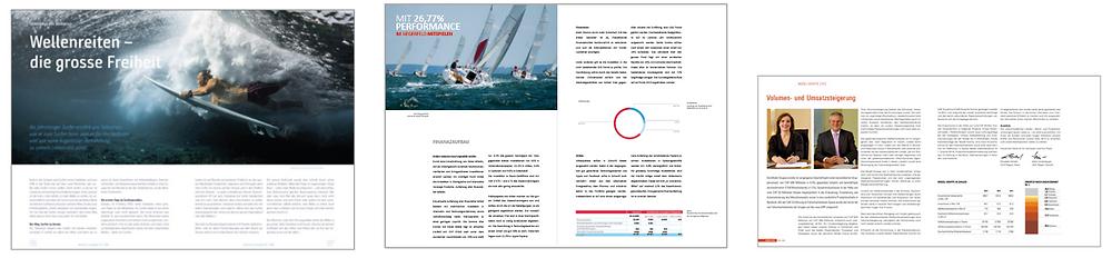 Freizeitmagazin: Weitsicht / Jahresbericht: MKS / Kundenmagazin: Model Box (von l. nach r. / Auszug Referenzen cocomu gmbh)