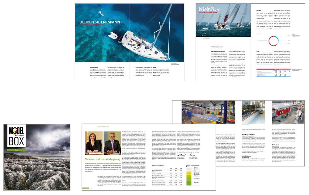 Abbildung: Geschäftsbericht und Kundenmagazin – Auszug aus  dem Portfolio der Agentur cocomu