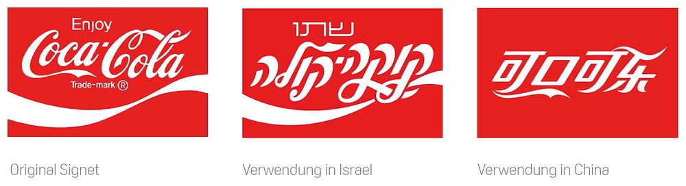 Abbildung: Das Zeichen der international bekannten Marke Coca Cola ist Sprachübergreifend wiedererkennbar.  Bildquellen:  coca-cola-art.com/marketingmax.wordpress.com/estrategiaseescribeconk.blogspot.ch