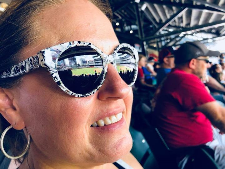 Mom with sunnies at ballpark