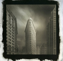 A Rembrandt portrait of the Flatiron building in New York City printed in platinum palladium process