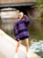 Multi Stripe Chunky Knitted Mini Dress c