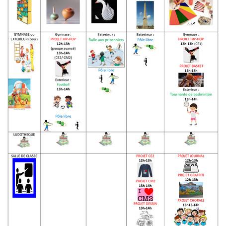 Planning activité midi du 11 au 15/02