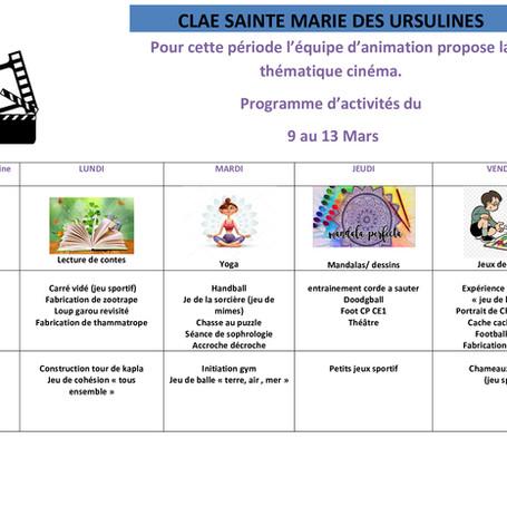 Planning d'activité 9 au 13/03
