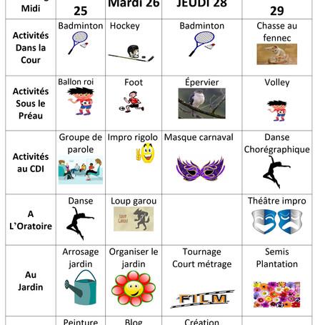 Planning d'activité midi du 25 au 29/03