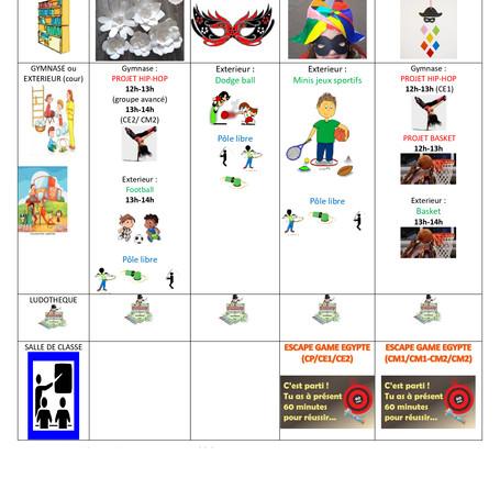 Planning d'activité midi du 18 au 22/02