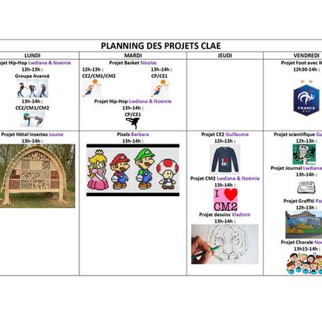 Le planning des projets du CLAE