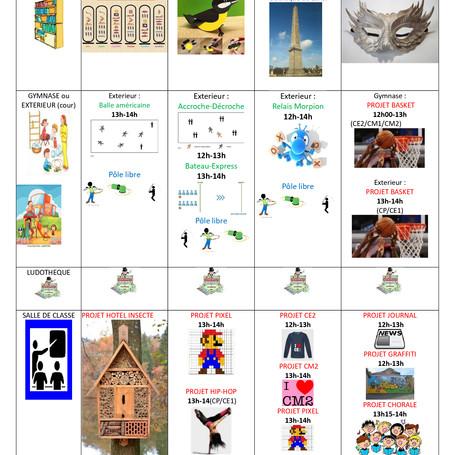 Planning d'activité du 04 au 08/02/19