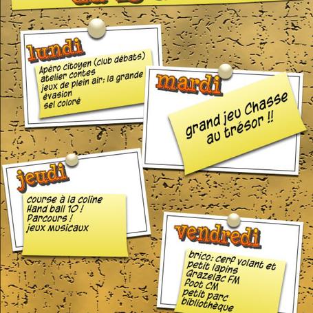 Planning d'activité Midi du 15 au 19/04