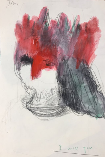 crayon on paper, A4