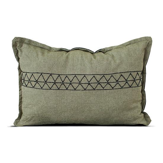 Green-Grey Cushion + Black embroidery