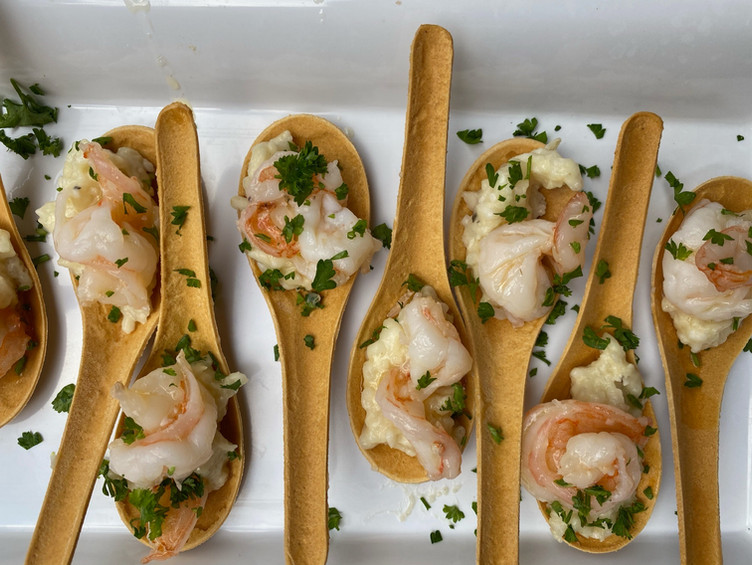 Shrimp Risotto Edible Spoons