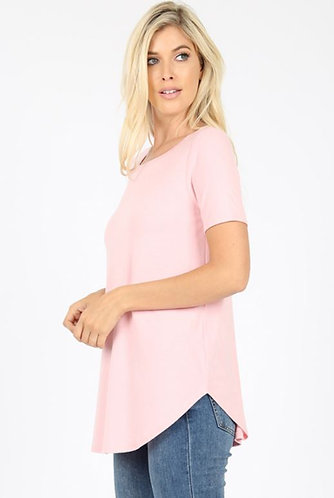 Pastel Pink Round Hem Tee