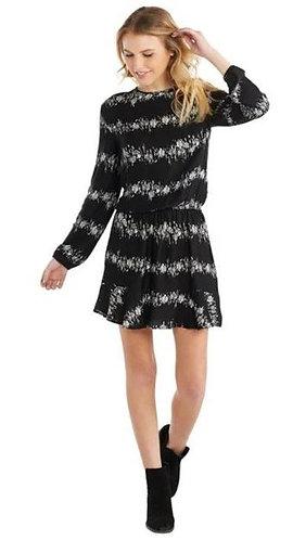 Black Floral Flounce Dress