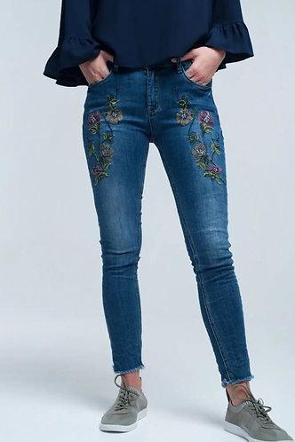 Floral Embroidered Denim