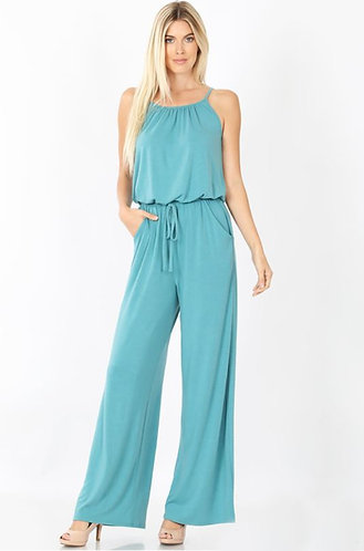 Mint Spaghetti Strap Jumpsuit With Pockets