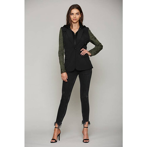 Hooded Insert Blazer with Olive Snake Print Sleeves