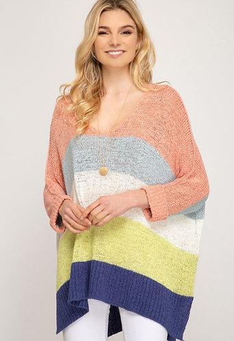 Peach Colorblock Stripe Pullover Sweater