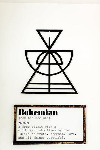 Geometric Hour Glass Shape Bohemian Geometric Wood Cut Out