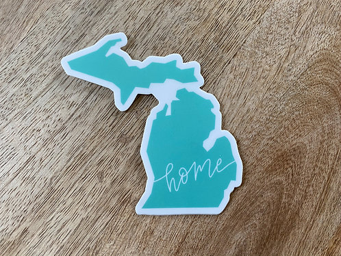 Teal Home Michigan Sticker