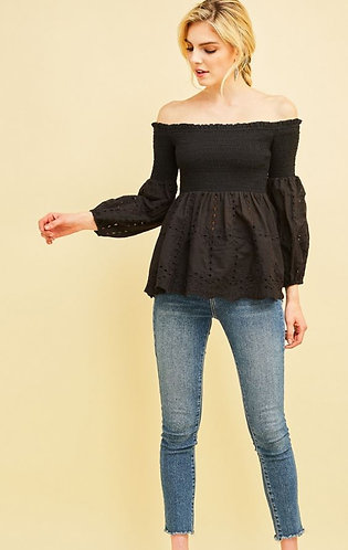Black Eyelet lace smocked off-shoulder top featuring puff sleeve