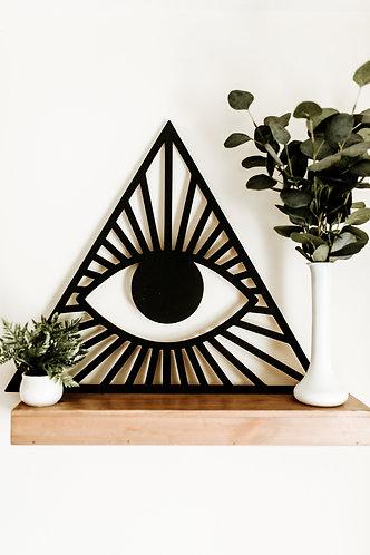 Triangle All Seeing Eye Shape Bohemian Geometric Wood Cut Out