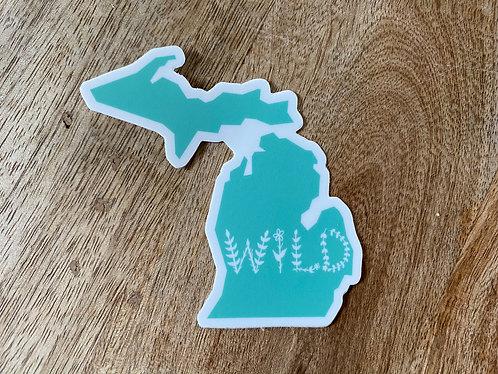 Teal Wild Michigan Sticker