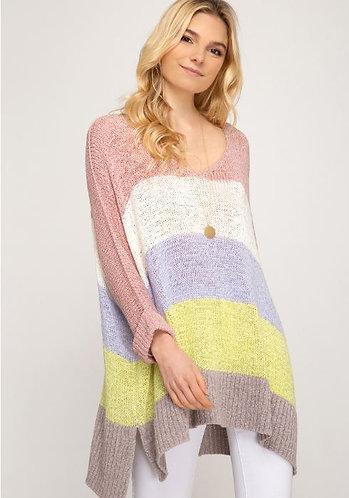 Rose Colorblock Stripe Pullover Sweater