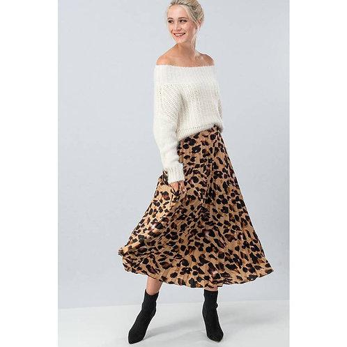 Leopard Print Pleated Midi Skirt