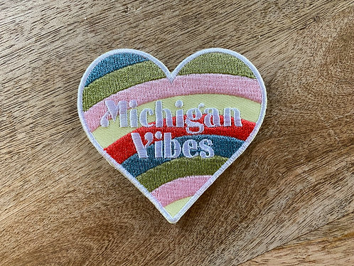 Michigan Vibes Heart Rainbow Patch