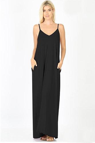 Black V-neck Cami Maxi Dress With Pockets