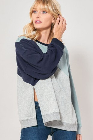 Blue Split Hem Colorblock sweatshirt