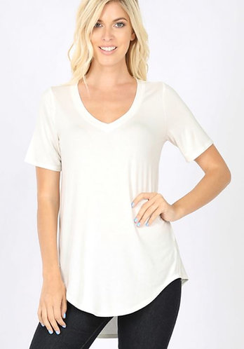 Luxe Hi Low V neck Tee