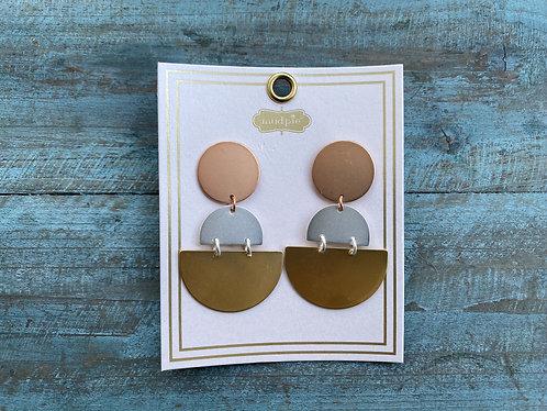 Mixed Metals Geometric Drop Earrings