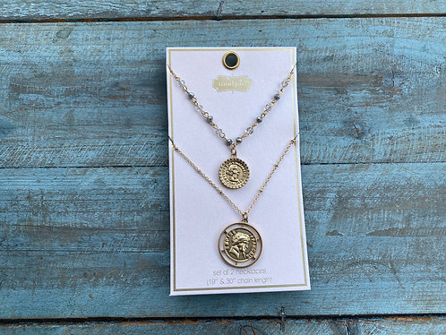 Coin Horn layering Necklace