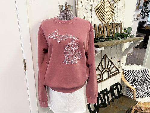 Mauve Michigan Floral Crewneck Sweatshirt