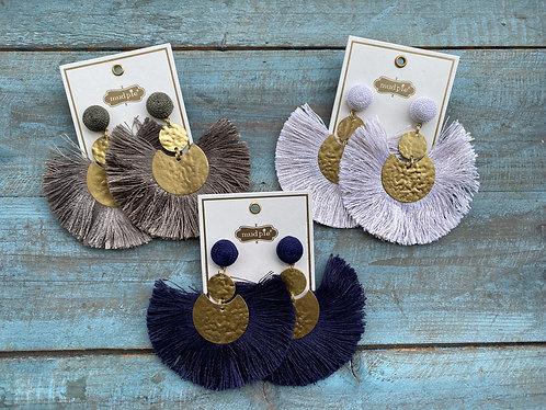 Hammered Gold Tassel Earrings