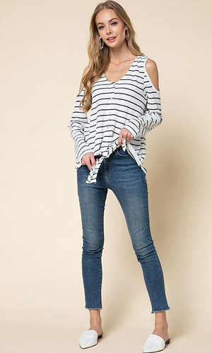 White Stripe Long Sleeve Cold Shoulder Thermal