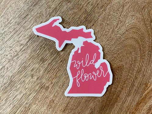 Pink Wildflower Michigan Sticker