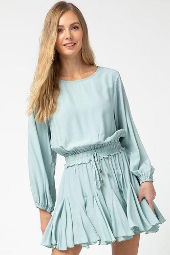Light Blue Smocked Waist Shorts Lined Dress
