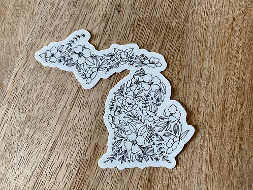 Hand drawn Floral Michigan Sticker