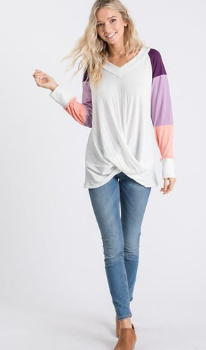 Colorblock cross front long sleeve top