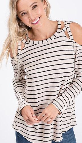 Cream Stripe Long Sleeve Cross Shoulder Thermal